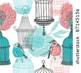 Peony Flowers Birds And Cages