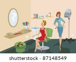 beauty salon client in red... | Shutterstock .eps vector #87148549