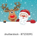 Vector Santa Cartoon With Funn...