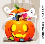 pumpkin with candies vector   Shutterstock .eps vector #87156574