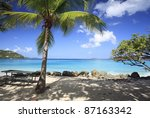 coconut palms at cinnamon beach ... | Shutterstock . vector #87163342