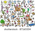 children's drawings | Shutterstock . vector #87165334