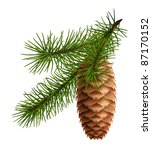 pine cone with branch  10eps