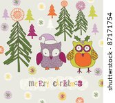 christmas forest with owls