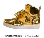 Golden Sport Shoes Isolated On...