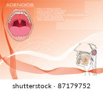 Cartoon background on medical subjects on adenoids with a description of symptoms.