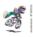 boy on mountain bike  vector | Shutterstock .eps vector #87185131