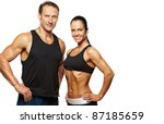 beautiful athletic couple. | Shutterstock . vector #87185659