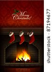 christmas card with fireplace...   Shutterstock .eps vector #87194677