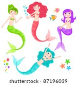 Set Of Cute Mermaids And...