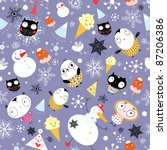 snow texture with owls and... | Shutterstock .eps vector #87206386
