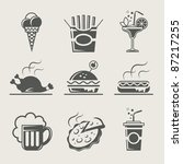 fast food and drink set of icon ... | Shutterstock .eps vector #87217255