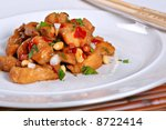 Spicy Kung Pow Chicken - Traditional Chinese Dish - stock photo