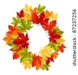 Autumnal falling leaves frame for seasonal design. Rasterized version also available in gallery - stock vector