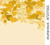 Autumnal leaves on colorful background for seasonal design. Rasterized version also available in gallery - stock vector
