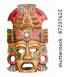 Hand Carved Wooden Mayan Mask...