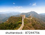 the great wall of china in autumn - stock photo