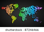 Colorful World Map in Typography - stock vector