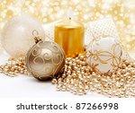 christmas balls on white... | Shutterstock . vector #87266998