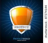 protect orange shield on blue... | Shutterstock .eps vector #87274144