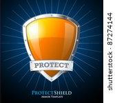 Protect Orange Shield On Blue...