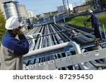 two refinery workers and... | Shutterstock . vector #87295450