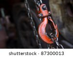 red hoist chain as vintage... | Shutterstock . vector #87300013