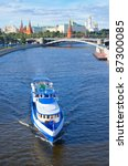 Moscow river. Ship float on the Moscow river against the backdrop of the Moscow Kremlin. - stock photo
