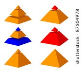 six pyramids on a white... | Shutterstock .eps vector #87304978