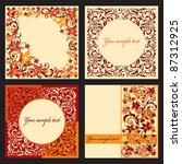 vector set of autumn cards with ... | Shutterstock .eps vector #87312925
