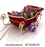 christmas santa sledge with... | Shutterstock . vector #87318019