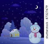 christmas cartoon  snowman on a ...   Shutterstock .eps vector #87327679