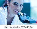 young scientist posing with a... | Shutterstock . vector #87349136