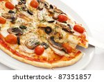 appetizing pizza on a white... | Shutterstock . vector #87351857
