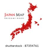 japan map shaped from origami birds - RASTER version - stock photo