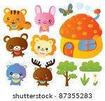 Stock vector cute animal collection set 87355283