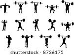 weight lifting silhouettes | Shutterstock .eps vector #8736175