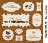vector thanksgiving frame set.... | Shutterstock .eps vector #87363106