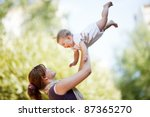 mother with baby at outdoor | Shutterstock . vector #87365270