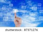 hand push a touch screen button ... | Shutterstock . vector #87371276