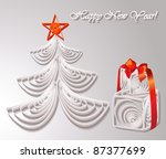 paper christmas tree with gifts | Shutterstock .eps vector #87377699