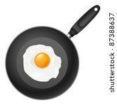 Frying pan with egg. Illustration on white background - stock vector