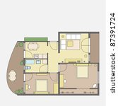 vector floor plan | Shutterstock .eps vector #87391724