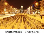 Snowy Wenceslas Square In The...