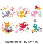 Stock vector cute kittens set 87424445