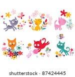 cute kittens set | Shutterstock .eps vector #87424445
