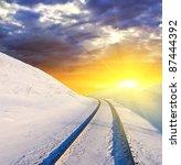 Winter Railway At The Sunset