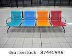 Colored Metal Bench In A Subwa...