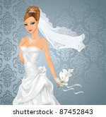 beautiful bride with a bouquet... | Shutterstock .eps vector #87452843