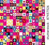 cute hearts, stars and flowers abstract art pattern - stock vector